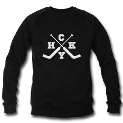 Чёрный свитшот реглан с принтом для хоккейного вратаря