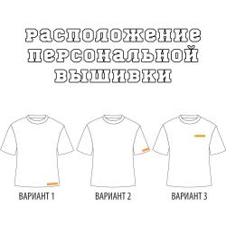 Расположение вышивки или печати на футболке