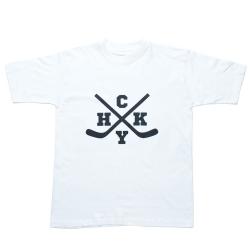 Белая мужская хоккейная футболка с принтом HCKY