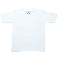 Белая мужская футболка с клюшками вид сзади