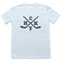 Мужская хоккейная футболка с принтом перекрещенные хоккейные клюшки HoCKeY