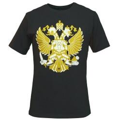 """Чёрная футболка MASSKOTT """"Герб"""" с российской хоккейной символико"""