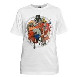 """Белая мужская футболка """"Хоккейные маскоты"""""""