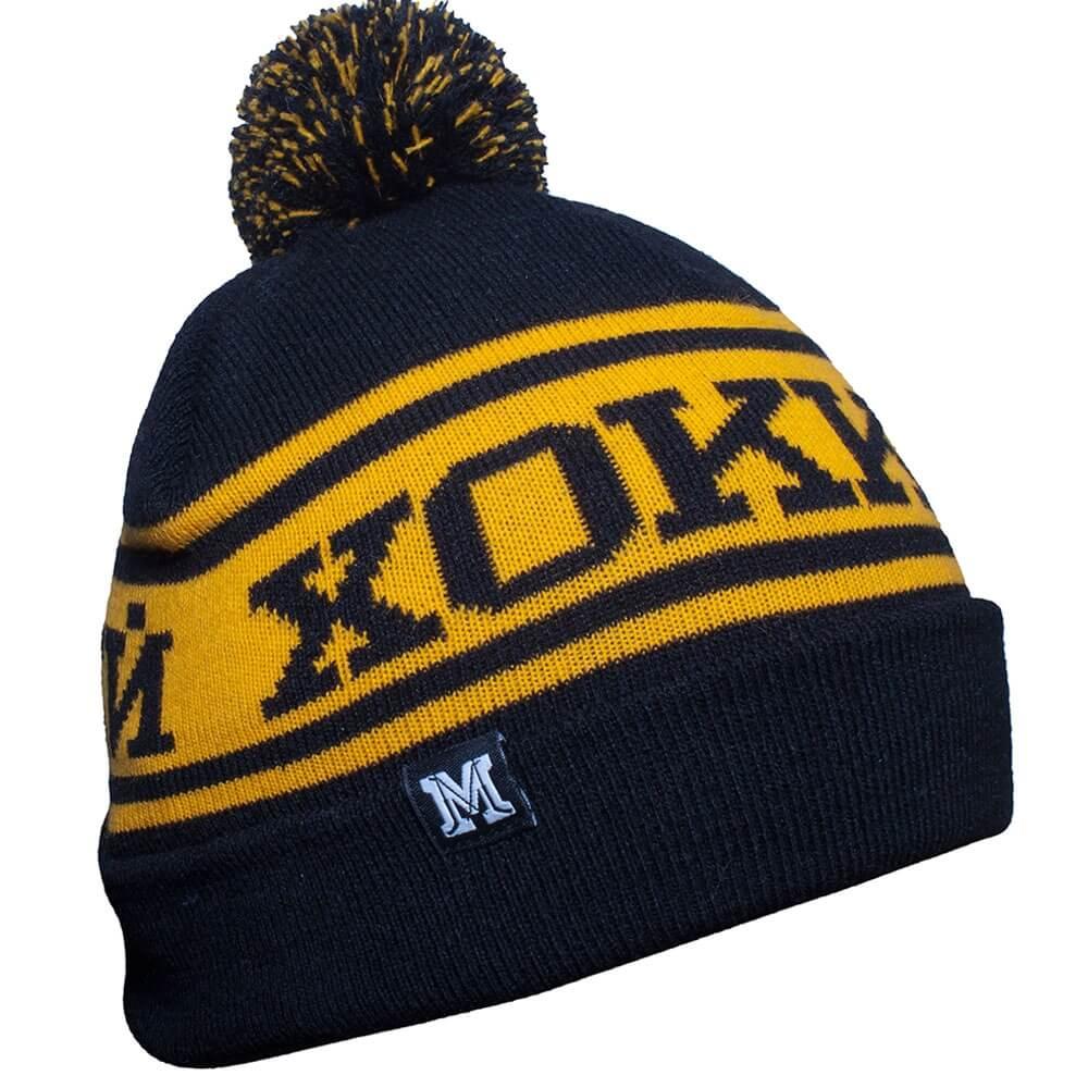 Чёрно-желтая вязанная шапка Хоккей с помпоном