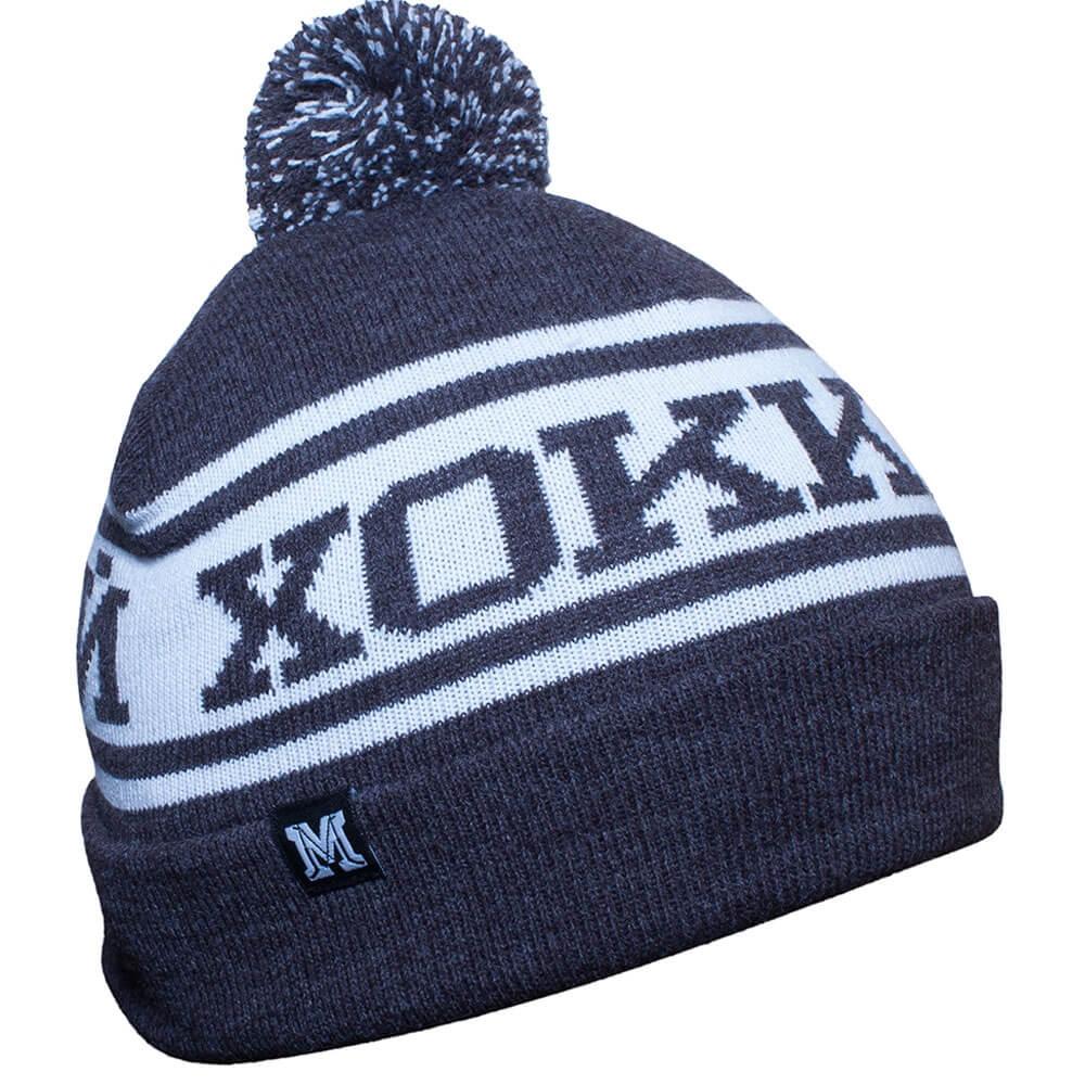 Серо-белая хоккейная вязанная шапка с помпоном