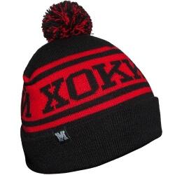 Чёрно-красная зимняя хоккейная шапка с полосой и помпоном