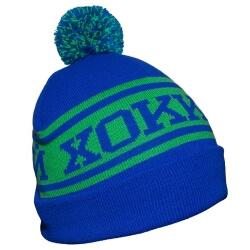 Сине-зеленая хоккейная вязанная шапка с помпоном