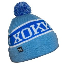 Голубая зимняя хоккейная шапка с синей полосой и помпоном