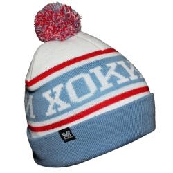 Бело-голубая вязанная шапка с красной полосой и помпоном Хоккей