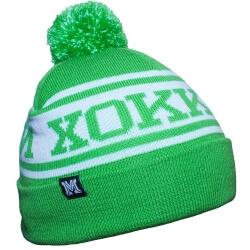 Зеленая с белым вязанная зимняя шапка с помпоном Хоккей