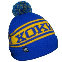 Желто-синяя вязанная ретро шапка с помпоном Хоккей