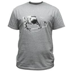 Мужская хоккейная футболка с космонавтом серый меланж