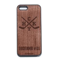 """Чехол для iPhone MASSKOTT """"HoCKeY"""" с деревянной панелью"""