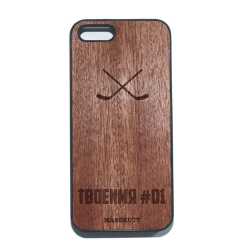 """Чехол для iPhone MASSKOTT """"Хет-трик"""" с деревянной защитной панелью"""