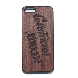 """Чехол для iPhone MASSKOTT """"Советский хоккей"""" с деревянной панелью"""