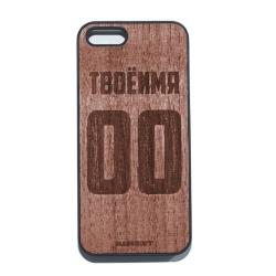 Именной чехол для iPhone с деревянной панелью с фамилией и номером