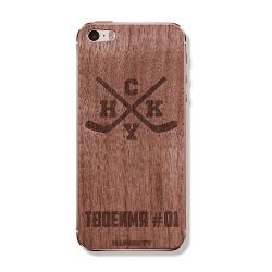 """Защитная деревянная панель для iPhone MASSKOTT """"HoCKeY"""" с гравировкой"""