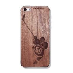 """деревянный скин для iPhone MASSKOTT """"Хоккеист"""" с фамилией и номером"""