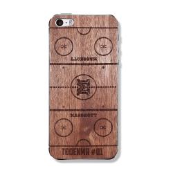 """Защитный деревянный скин для iPhone """"Хоккейная площадка"""""""