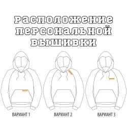 Расположение вышивки на толстовке