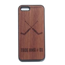 """Чехол для iPhone MASSKOTT """"Сухарь"""" для хоккейного вратаря дерево-пластик"""