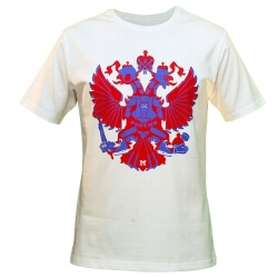"MASSKOTT Футболка ""Герб"" белый синий/красный"