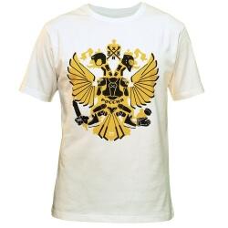 """MASSKOTT Футболка """"Герб"""" белый-жёлтый-чёрный"""