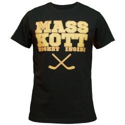 Чёрная мужская футболка с принтом MASSKOTT Hockey Inside
