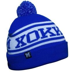 Бело-голубая зимняя хоккейная шапка с помпоном