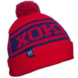 Красно-синяя зимняя вязанная шапка Хоккей с помпоном