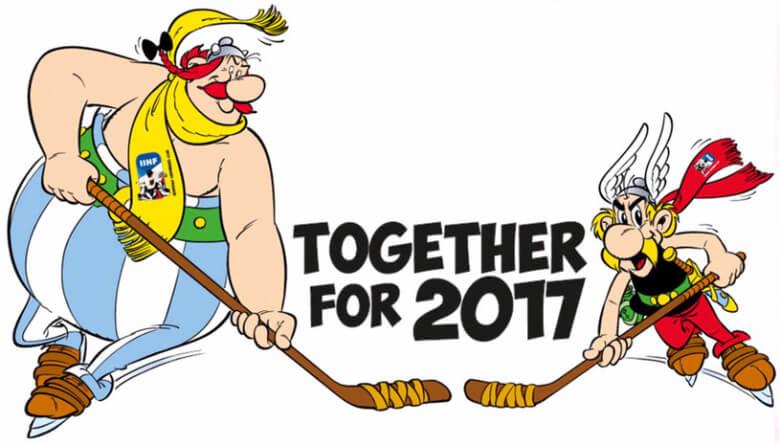 Маскоты ЧМ по хоккею 2017 Астерикс и Обеликс