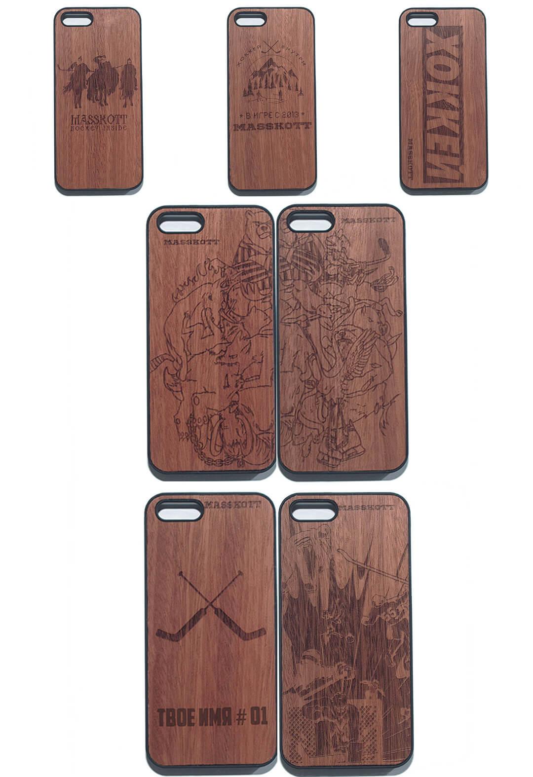 Деревянные защитные чехлы для Iphone с хоккейной символикой и гравировкой  рисунка, фамилии и номера
