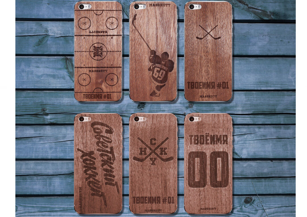 Деревянные защитные панели для iPhone с фамилией и номером хоккеиста