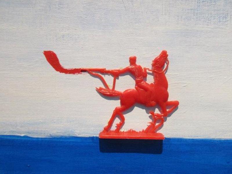 АЛЕКСАНДР ПЕТРЕЛЛИ. Картина Ледовое кангжеище, 2016. Выставка Футбол - хоккей в Центре современного искусства Винзавод.