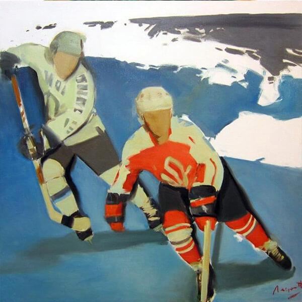 ВАДИМ ЛЕУХИН. Картина Хоккей, 2016. Выставка Футбол - хоккей в Центре современного искусства Винзавод.